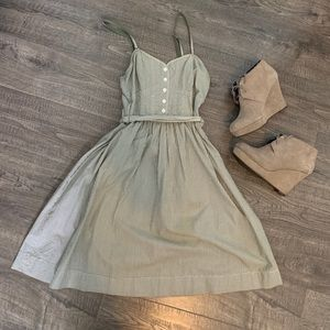 American Eagle Green Stripped Holiday Dress Size 2